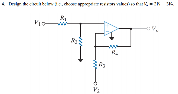 Design the circuit below (i.e., choose appropriate