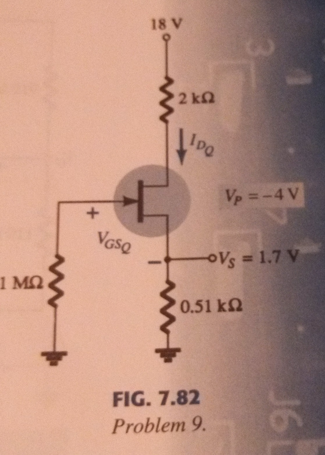 Given the measurement Vs=1.7V for the network of f