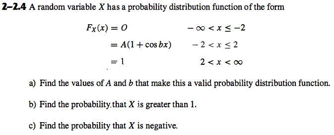 A random variable X has a probability distribution