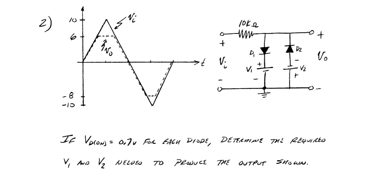 If Vd(on) = 0.7v for each diode, determine the r