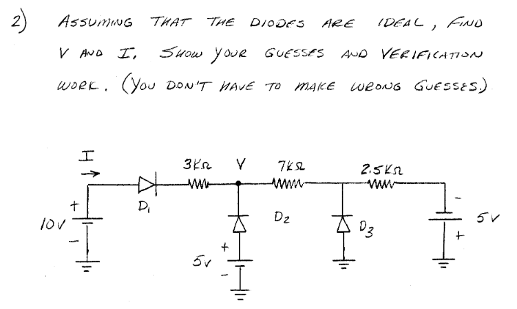 Assuming that the diodes are ideal, find V and I.