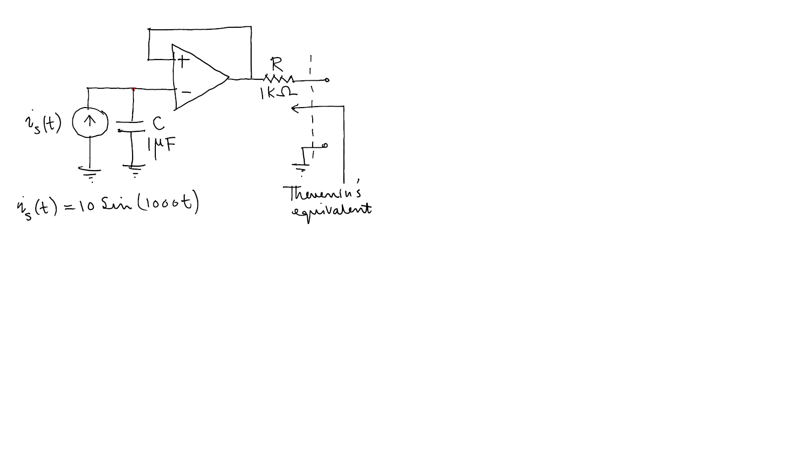 Draw the Thevenin's equivalent in Phasor Domain fo