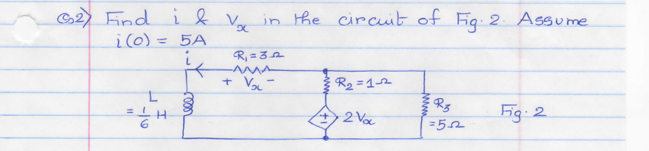 Find I & vx in the circuit of Fig 2. Assume i(0)=5