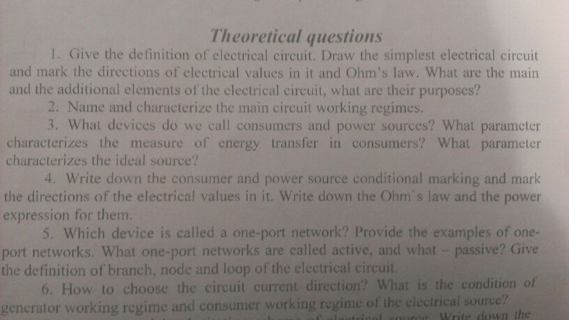 Give the definition of electrical circuit. Draw th