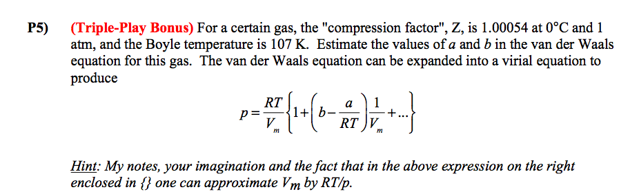 van der waals equation a and b values pdf