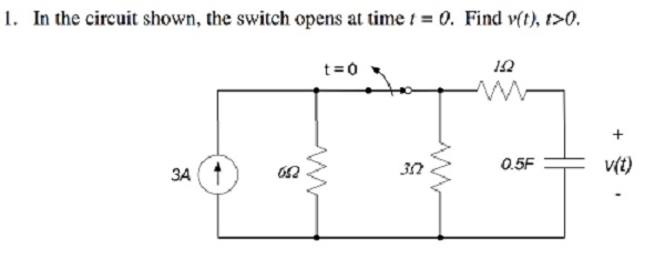 In the circuit shown, the switch opens at time t =