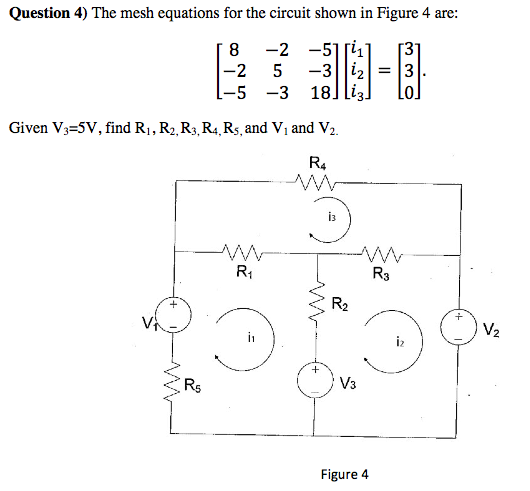 The mesh equations for the circuit shown in Figure