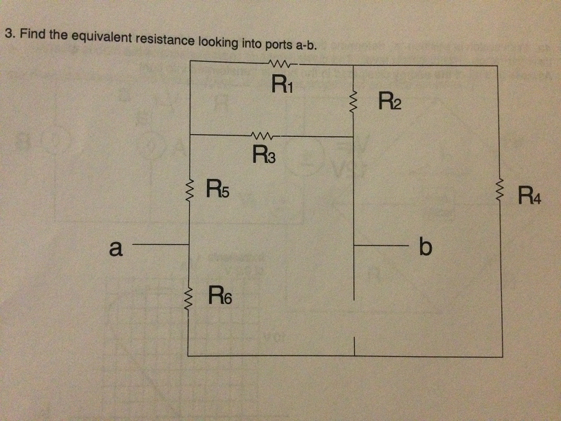 Find the equivalent resistance looking into ports