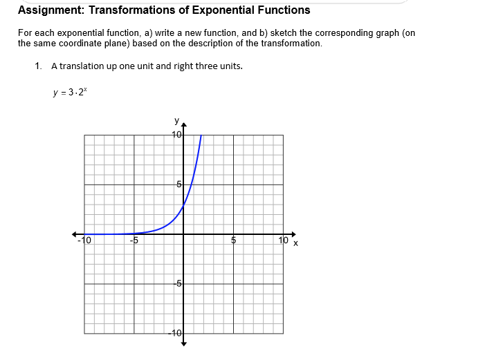 Transformations Of Exponential Functions Worksheet