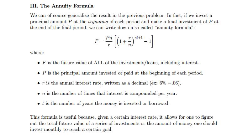 annuity formula