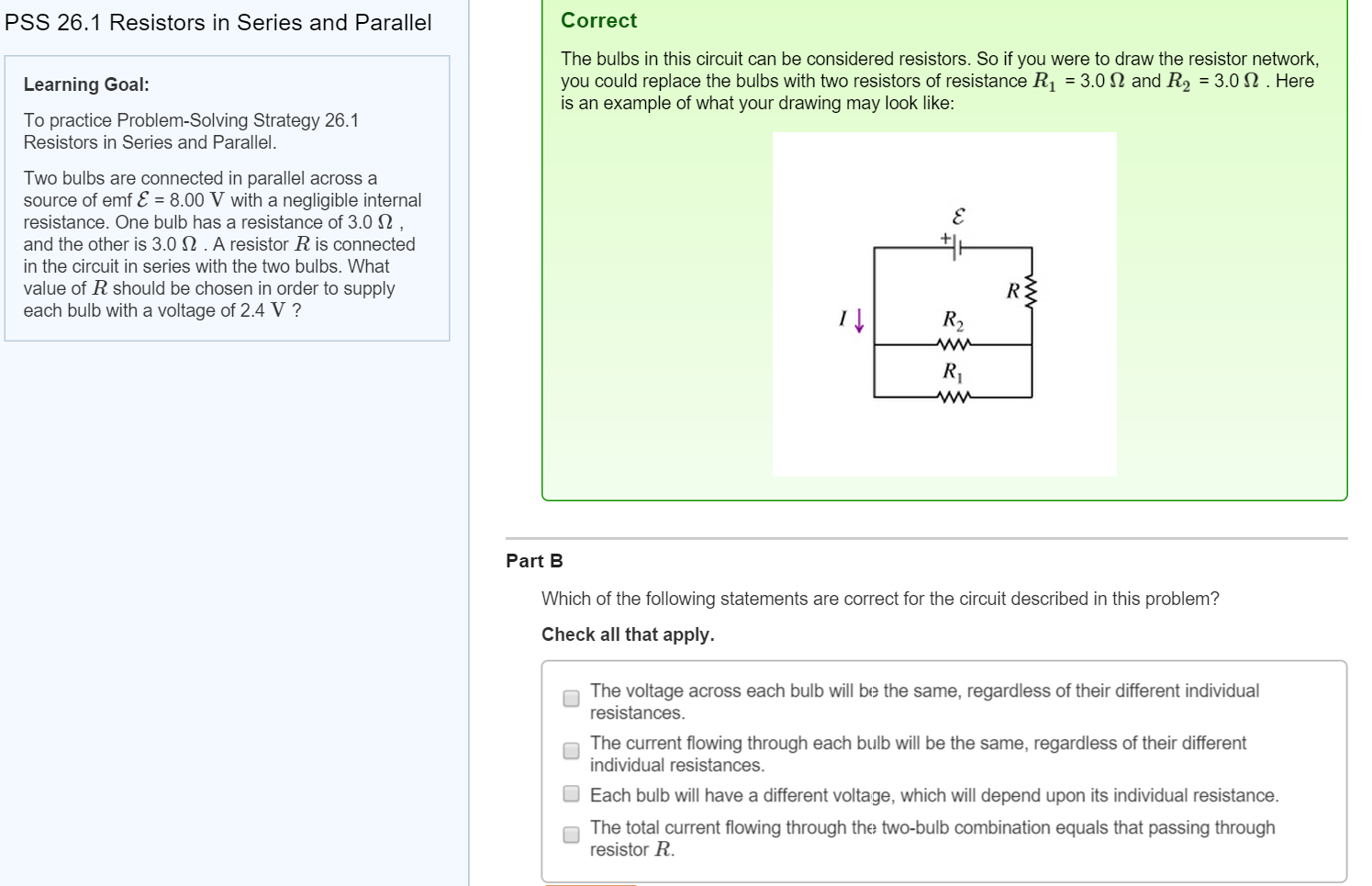 Solved to practice problem solving strategy 261 resistor question to practice problem solving strategy 261 resistors in series and parallel two bulbs are connec pooptronica