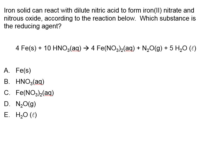 Iron Solid Can React With Dilute Nitric Acid To Fo...   Chegg.com