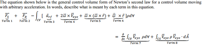 The equation shown below is the general control vo