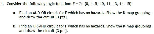 Consider the following logic function: Find an AH