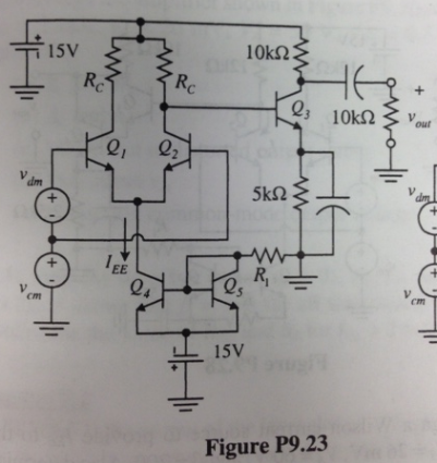Resign the amplifier shown in Figure P9.23 to have