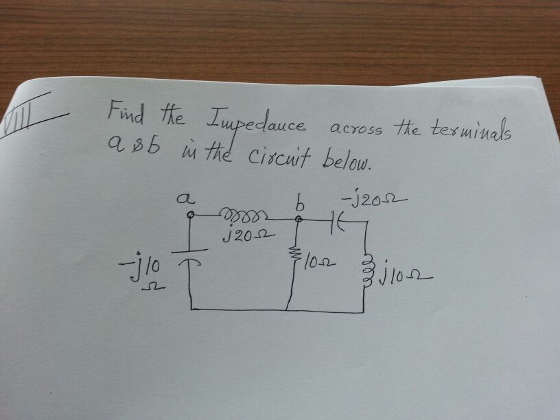 Find the Impedance across the terminals a & b in t