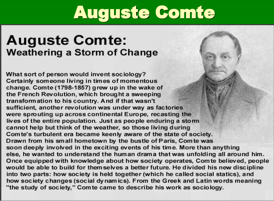 auguste comte essay From the paper: auguste comte was born in montpellier, france in 1798 his parents were royalists and catholics, though comte rebelled against both of these ideologies once he was in his teenage years (ellwood 359.