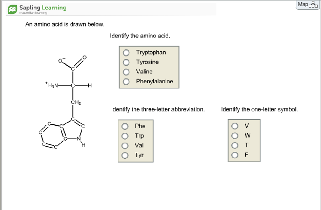 Solved an amino acid is drawn below identify the amino a map sapling learning macmillan loarning an amino acid is drawn below identify the amino acid thecheapjerseys Images