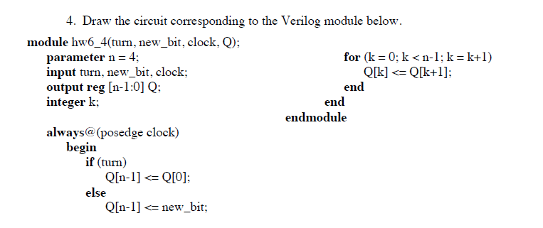 Draw the circuit corresponding to the Verilog modu