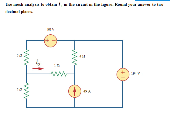 Use mesh analysis to obtain i0 in the circuit in t