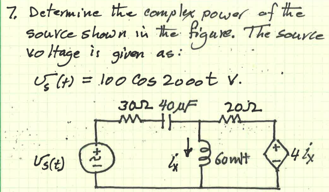 Determine the complex power of the source shown in