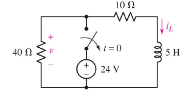 In the following circuit, find the voltage V(t) at