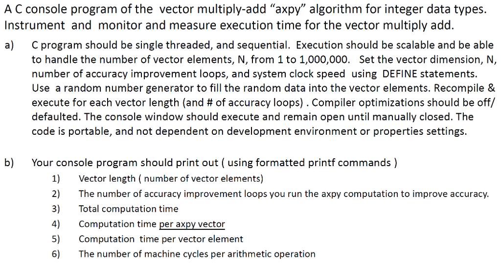 Using The Example Axpy Computation Problem(Provide... | Chegg.com