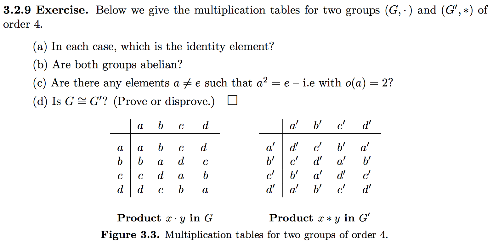 329 exercise below we give the multiplication t chegg show transcribed image text 329 exercise below we give the multiplication tables for two groups g and g of order 4 a in each case gamestrikefo Images