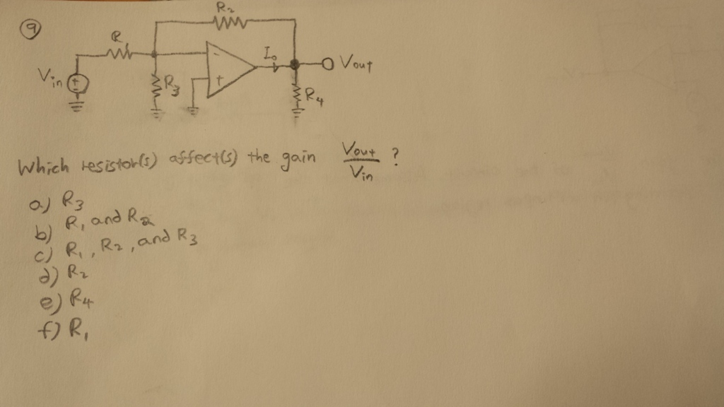 Which resistor(s) affects(s) the gain Vout/Vin?