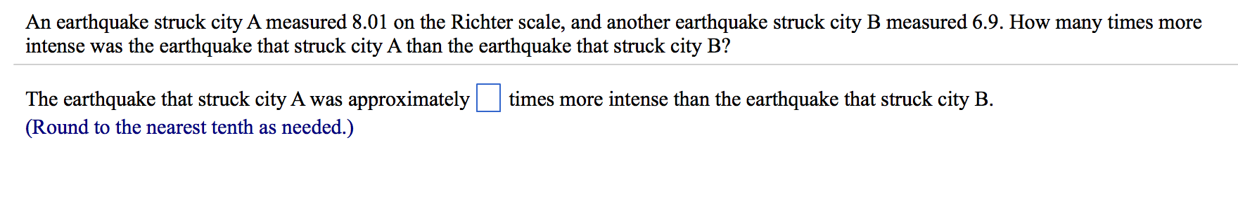 Earthquake homework help