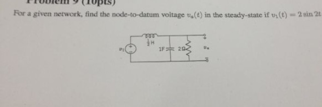 For a given network, find the node-to-datum voltag