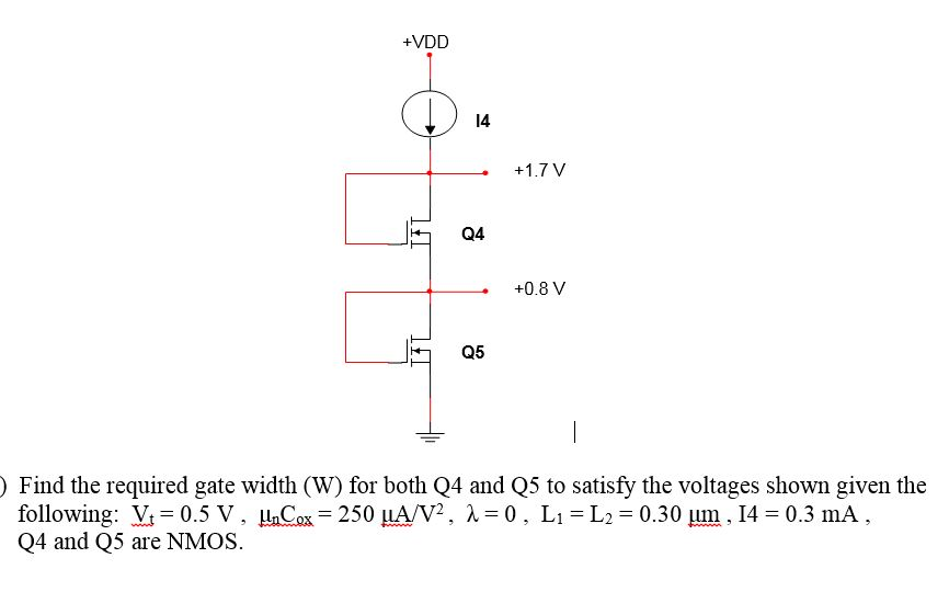 Find the required gate width (W) for both Q4 and