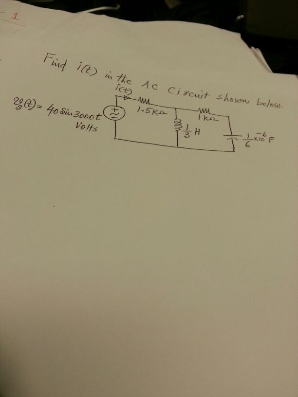 Find i(t) in the AC circuit shown below.