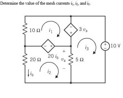 Determine the value of the mesh currents i1, i2, a