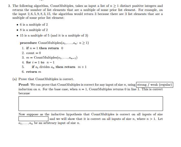 The Following Algorithm, CountMultiples, Takes As ... | Chegg.com
