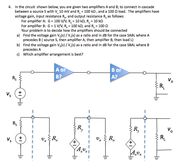 In the circuit shown below, you are given two ampl