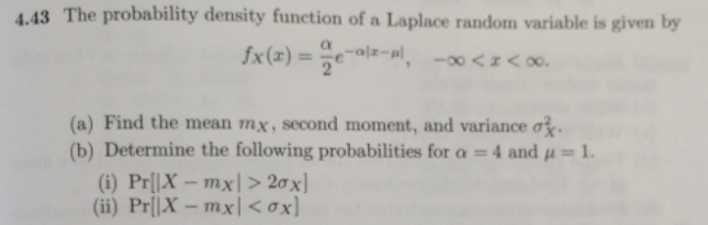 The probability density function of a Laplace rand