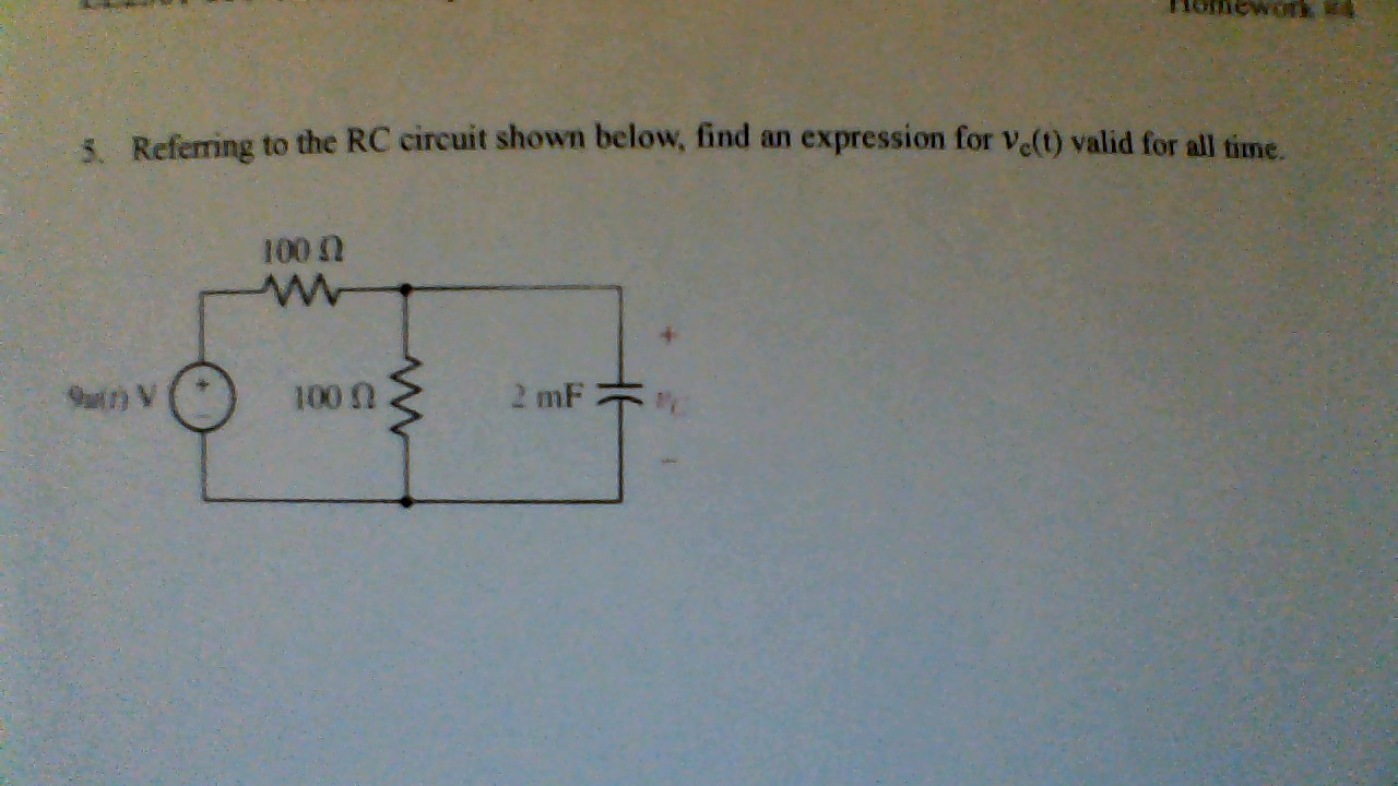 Referring to the RC circuit shown below, find and