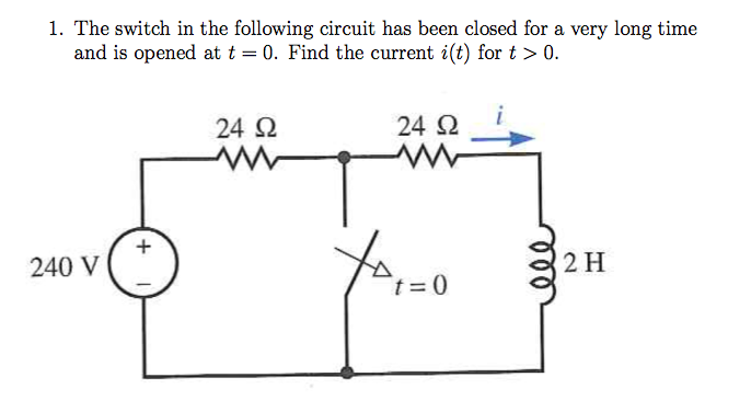 The switch in the following circuit has been close