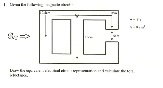 Solved: Given The Following Magnetic Circuit: Draw The Equ ...