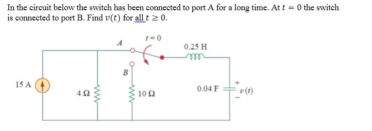 In the circuit below the switch has been connected