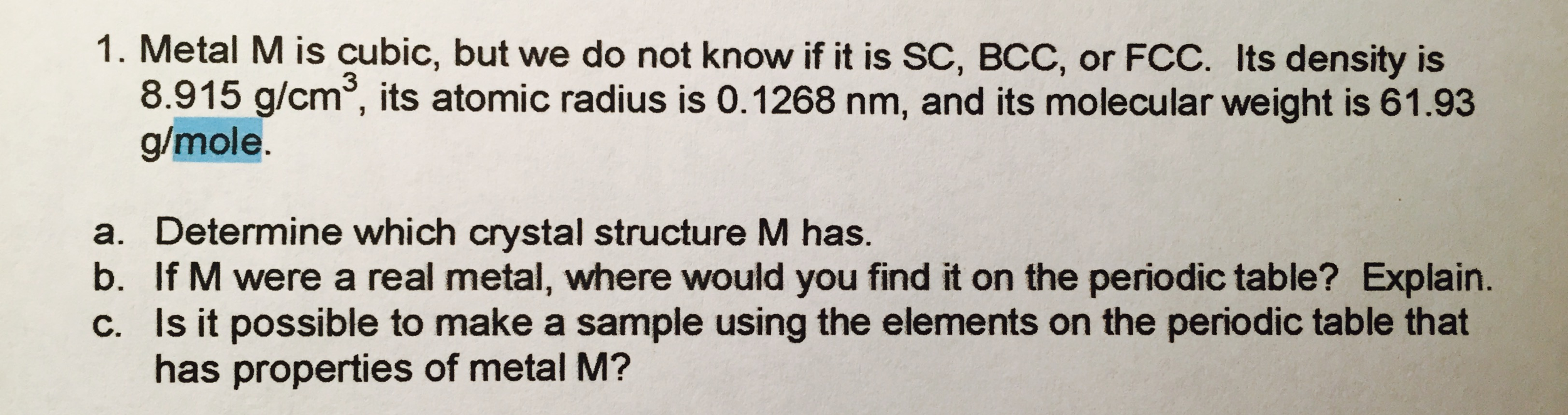 how to find atomic radius from density