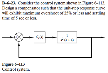Consider the control system shown in Figure 6-113.