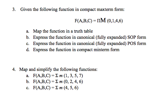 Given the following function in compact maxterm fo
