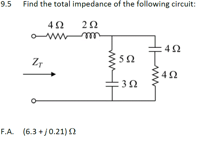 Find the total impedance of the following circuit: