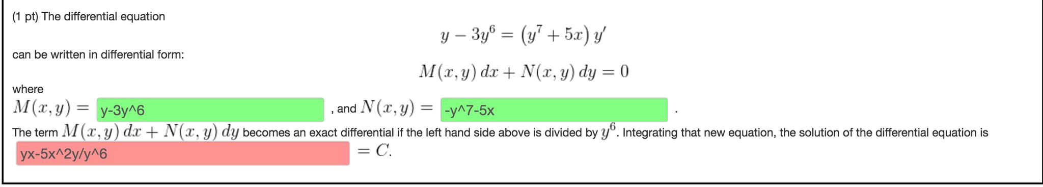 The Differential Equation Y - 3y^6 = (y^7 + 5x) Y'... | Chegg.com