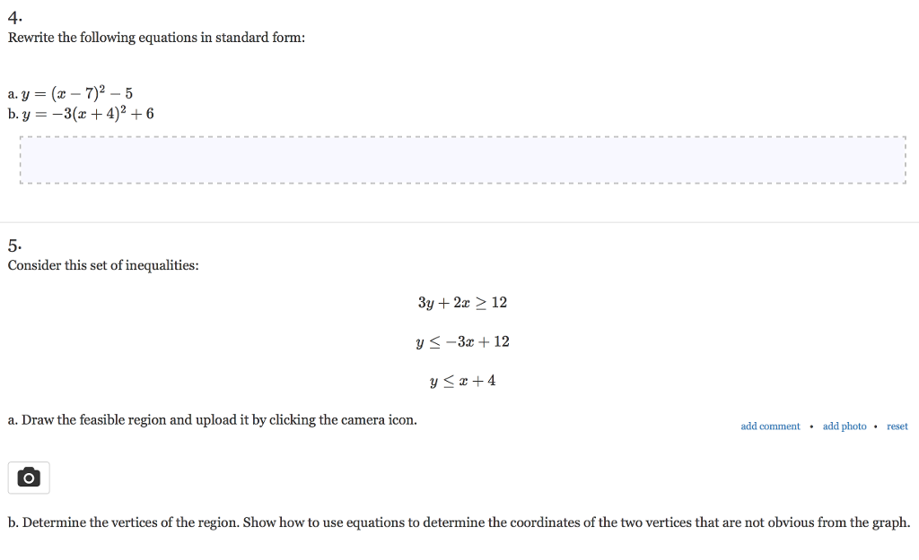 Solved 4 Rewrite The Following Equations In Standard For