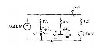 For this circuit, (a) Find v_C(0-) and v_C(0+). (b