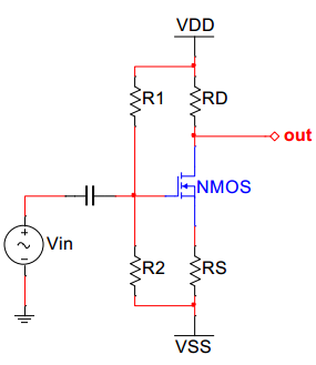 A common-source amplifier, such as shown in Figure