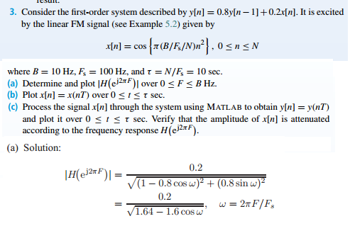 Consider the first-order system described by y[n]